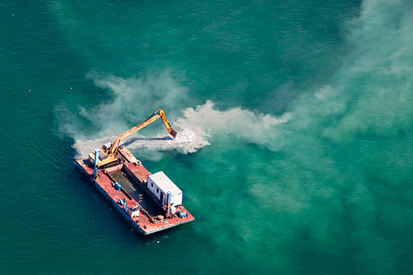 Ocean barge preparing for marine construction