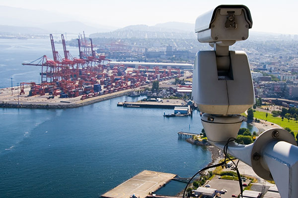 Security camera watching over harbor