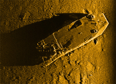 Sidescan sonar data showing a boat on ocean floor