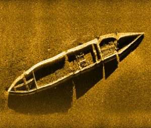 Sidescan sonar data of Liberty ship on ocean bottom
