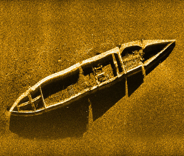 Sidescan sonar data of Liberty ship on ocean bottom