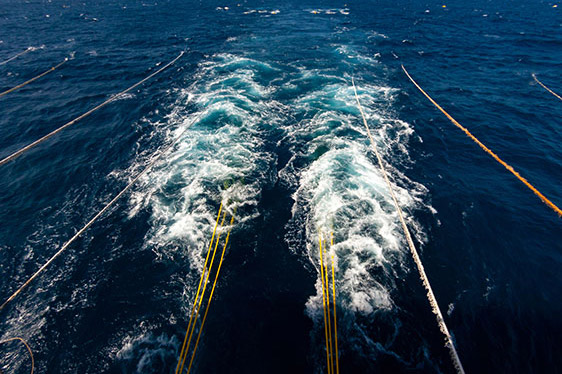 Towed Array off stern of marine vessel