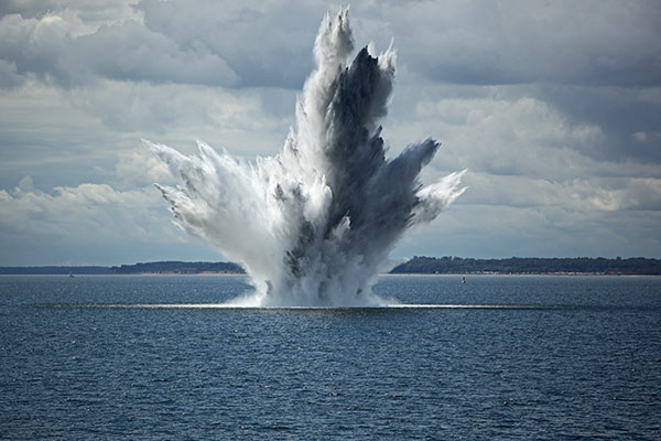 Ocean view of underwater mine detonation