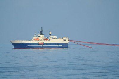 Marine Seismic Exploration vessel towing survey equipment